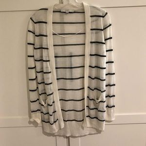 🍋 LOFT Striped Sheer Cardigan Sweater Petite M